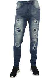Destroyed Moto Skinny Fit Denim Medium Blue Wash (M4551D) - Zamage