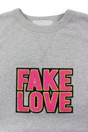 Fake Love French Terry Crewneck Heather Grey (8899FT) - Zamage