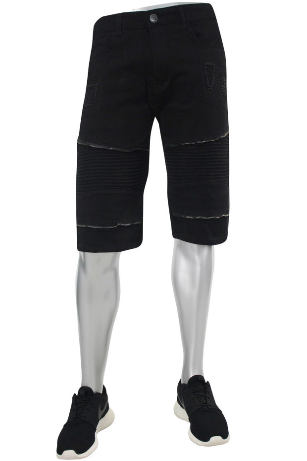 Moto Zip Denim Shorts Black (M7069T)