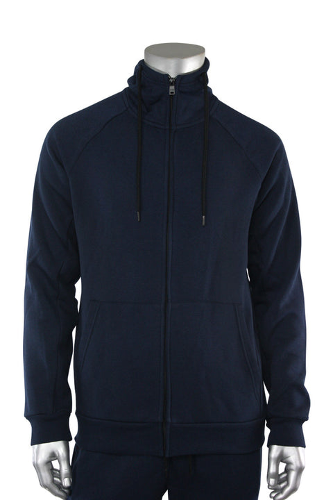 Basic Full Zip Fleece Hoodie Navy (192-551)