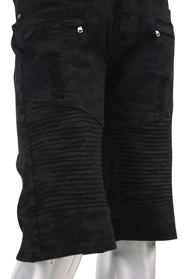 Ripped Moto Denim Shorts Black Camo (M7156T) - Zamage
