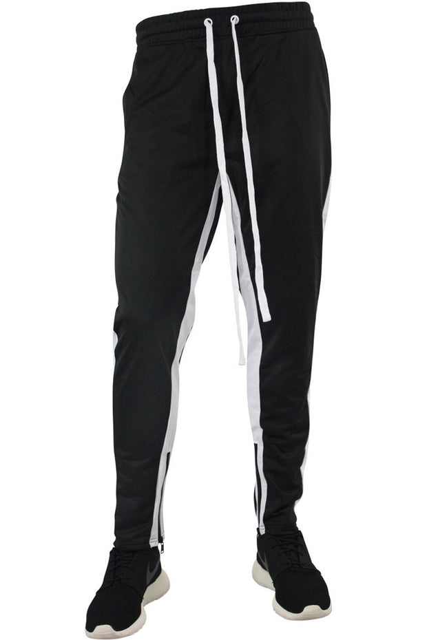 Dual Stripe Tricot Track Pants Black - White (82-411) - Zamage