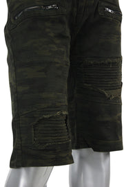 Moto Zip Denim Shorts Camo (DDM7120T) - Zamage
