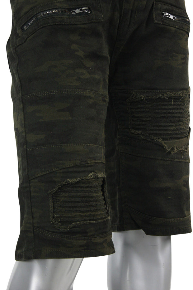 Moto Zip Denim Shorts Camo (DDM7120T)