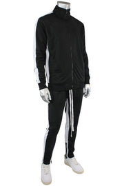 Striped Tricot Track Jacket Black - White (82-311)