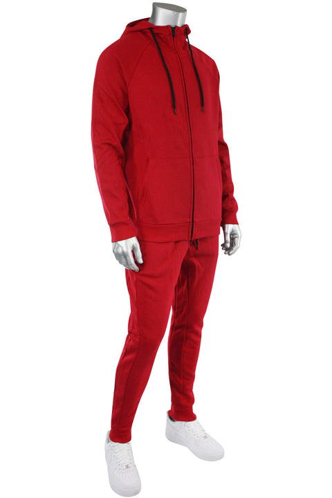 Basic Full Zip Fleece Hoodie Red (192-551)