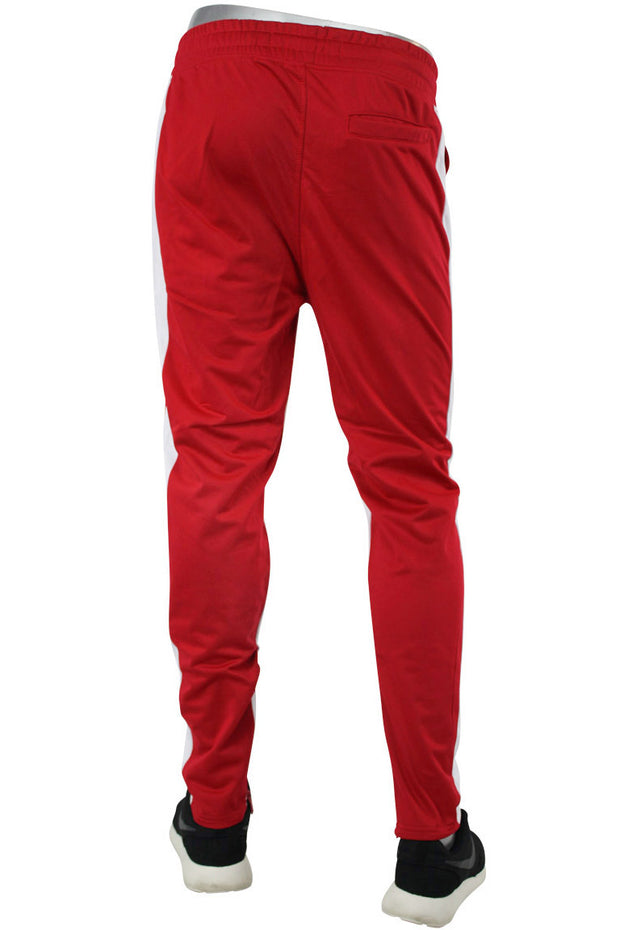 Dual Stripe Tricot Track Pants Red - White (82-411) - Zamage