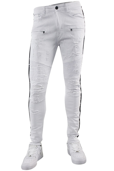Moto Rhinestone Skinny Fit Denim White (M4935TA)
