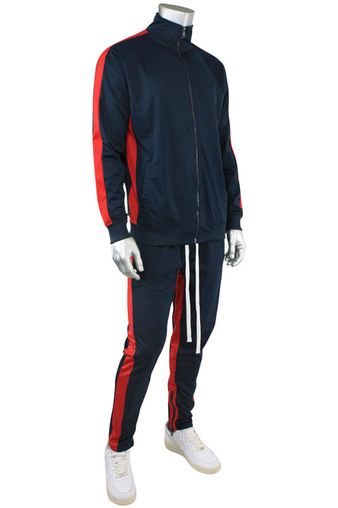 Dual Stripe Tricot Track Pants Navy - Red (82-411) - Zamage