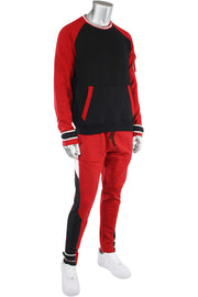 Color Block Fleece Velcro Tape Joggers Red (SF9415) - Zamage