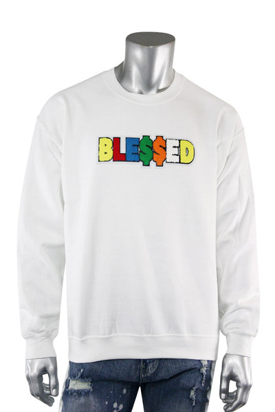Blessed Chenille Fleece Crewneck White (2233CFCN) - Zamage