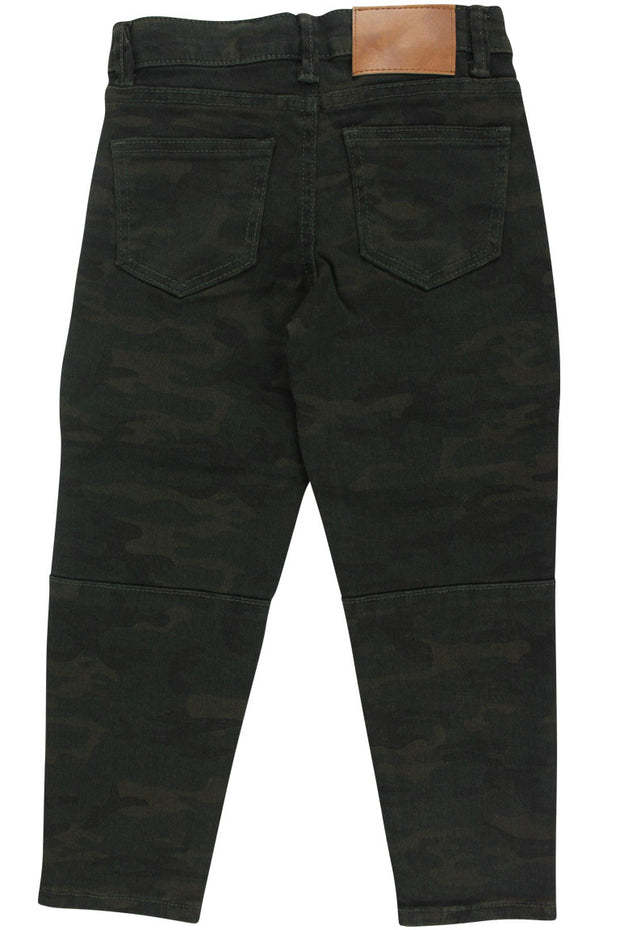 Boy's Moto Double Zip Skinny Fit Denim Camo (8BM4544T) - Zamage