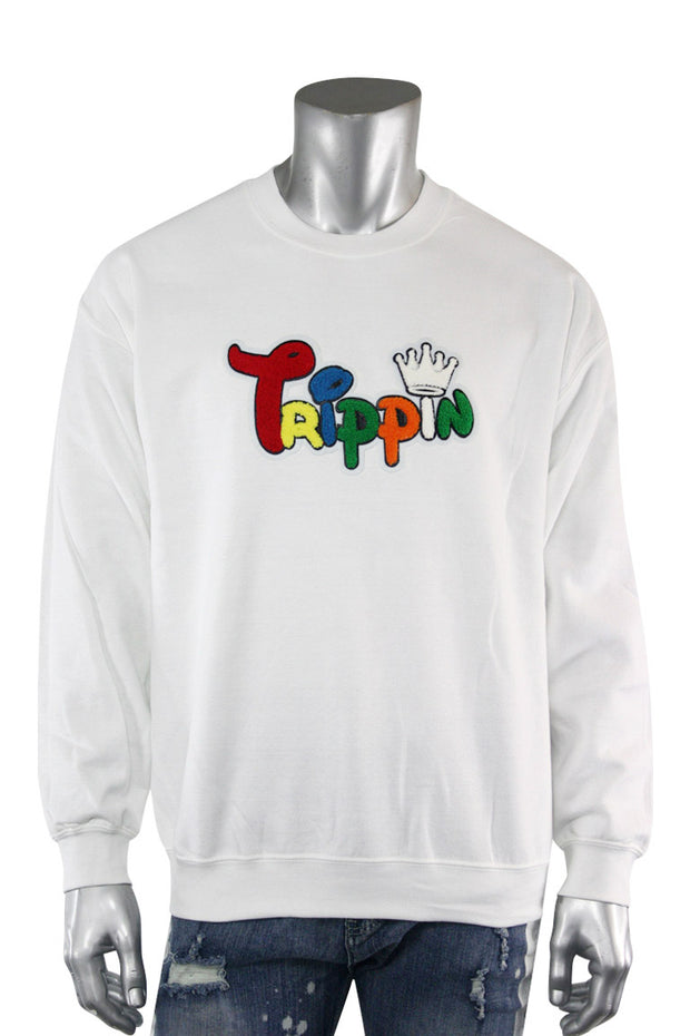 Trippin King Fleece Crewneck White (2234CFCN)