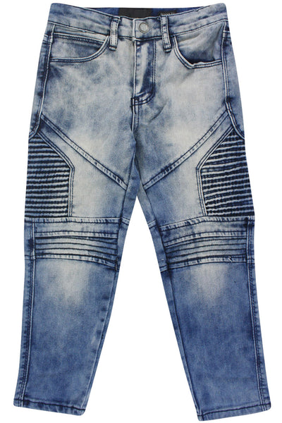 Boy's Side Moto Zip Denim Blue Acid Wash (8BM4408D) - Zamage