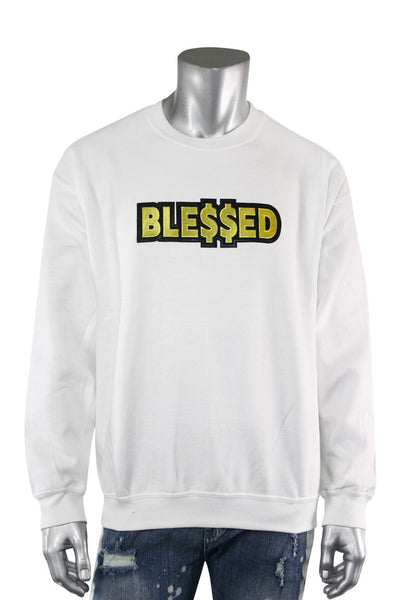 Blessed Gold Embroidered Fleece Crewneck White (2282CFCN) - Zamage