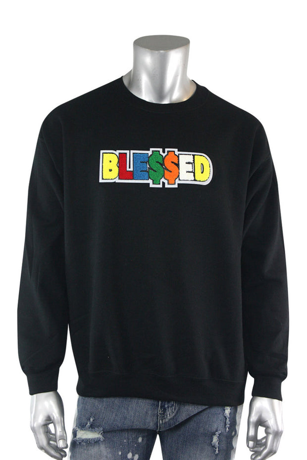 Blessed Chenille Fleece Crewneck Black (2233CFCN)