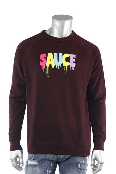 Embroidered Chenille Sauce French Terry Crewneck Burgundy (9019FT)