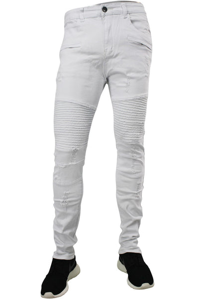 Ripped Moto Slim Fit Denim White (M4208TC)