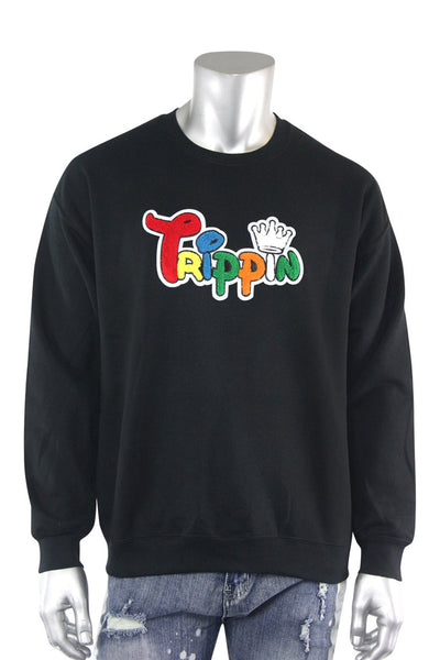 Trippin King Fleece Crewneck Black (2234CFCN)