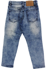 Boy's Moto Double Zip Skinny Fit Denim Blue Wash (8BM4544D)