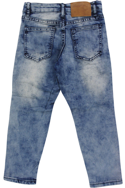 Boy's Moto Double Zip Skinny Fit Denim Blue Wash (8BM4544D) - Zamage