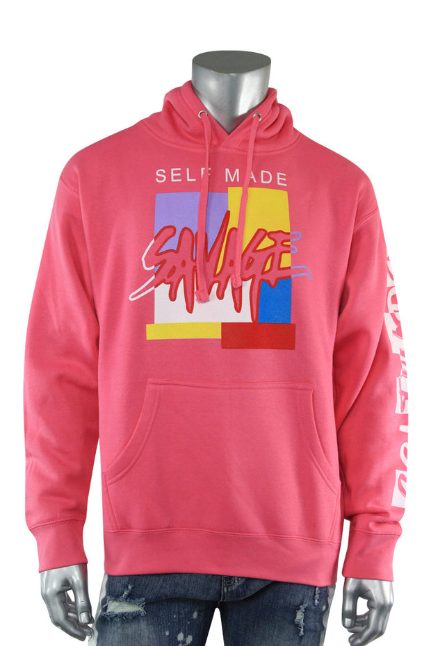 Self Made Savage Hoodie Hot Pink (9157H)