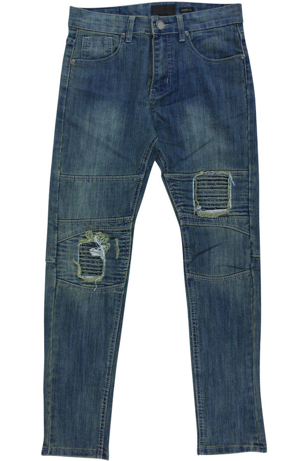 Boy's Moto Skinny Fit Denim Vintage Wash (8M4323D) - Zamage