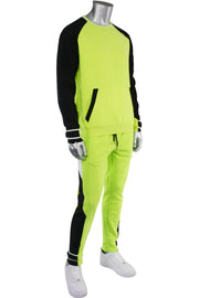 Color Block Fleece Velcro Tape Joggers Lime (SF9415) - Zamage