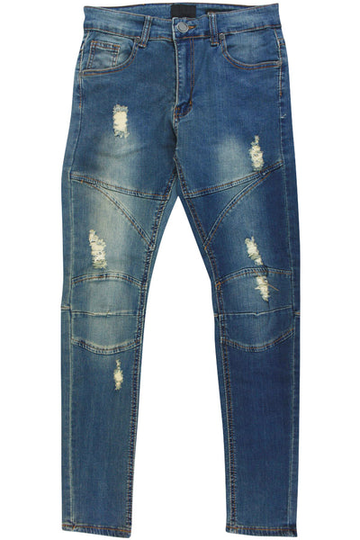Boy's Ripped Skinny Fit Denim Vintage Wash (8M4496D) - Zamage