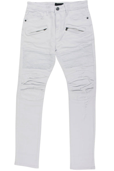 Boy's Moto Skinny Fit Denim White (8M4249T) - Zamage