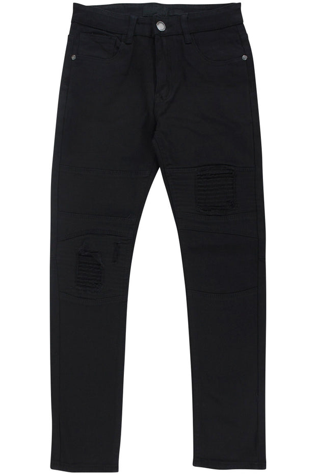 Boy's Moto Skinny Fit Denim Black (8M4323T) - Zamage