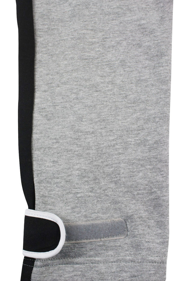 Color Block Fleece Velcro Tape Joggers Heather Grey (SF9415) - Zamage