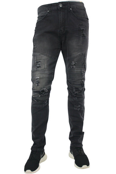 Moto Skinny Fit Denim Black Wash (M4354DB) - Zamage