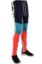 Tricot Track Pants Navy - Coral - Teal (JP9180)