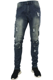 Moto Skinny Fit Denim Vintage Wash (M4354DB) - Zamage