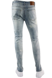 Multi Color Backin Skinny Fit Denim Bleach Wash (M4961DA) - Zamage