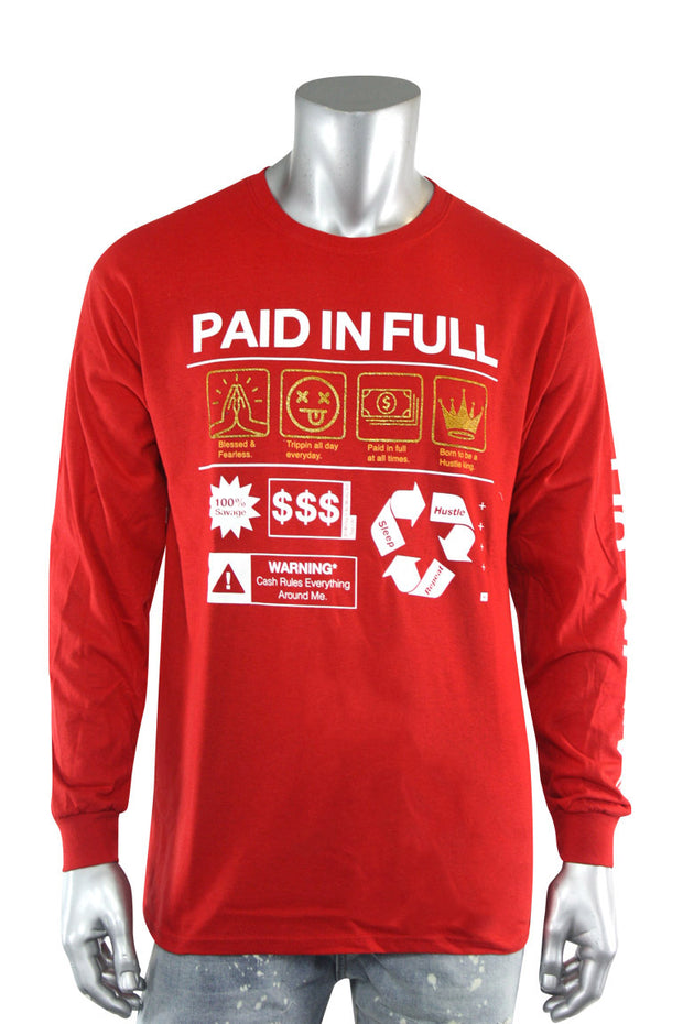 Paid In Full Symbols Long Sleeve Tee Red (2244L)