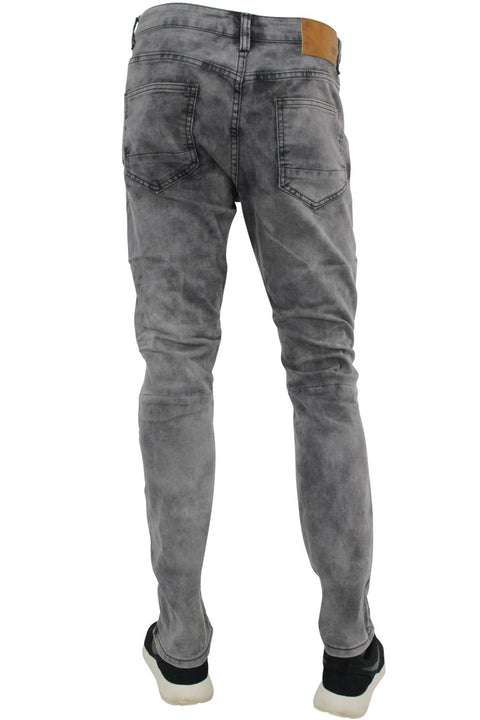 Ripped & Zipped Slim Fit Moto Denim Grey Wash (M4388DA)