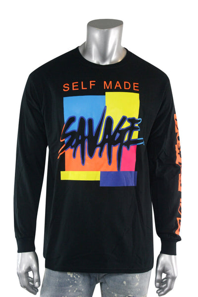 Self Made Savage Long Sleeve Tee Black (9157L)