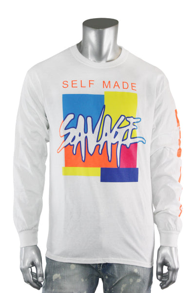 Self Made Savage Long Sleeve Tee White (9157L)