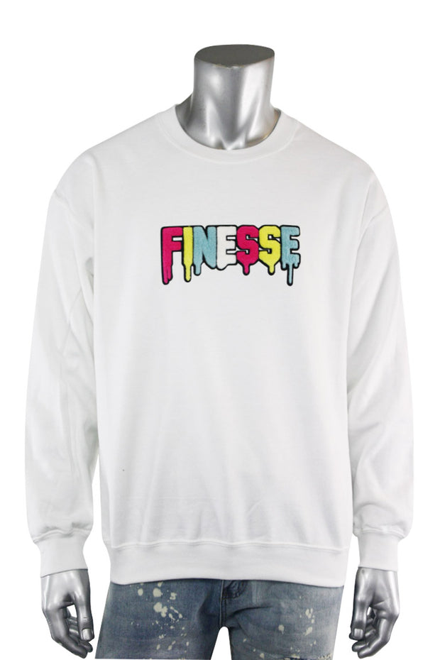Embroidered Chenille Finesse Sweatshirt White (8688CF) - Zamage