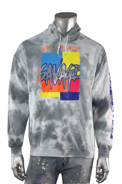 Savage Self Made Tie Dye Hoodie Grey (9157TDH) - Zamage