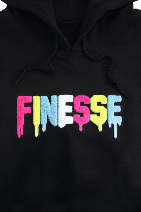 Finesse Chenille Hoodie Black (8688H) - Zamage