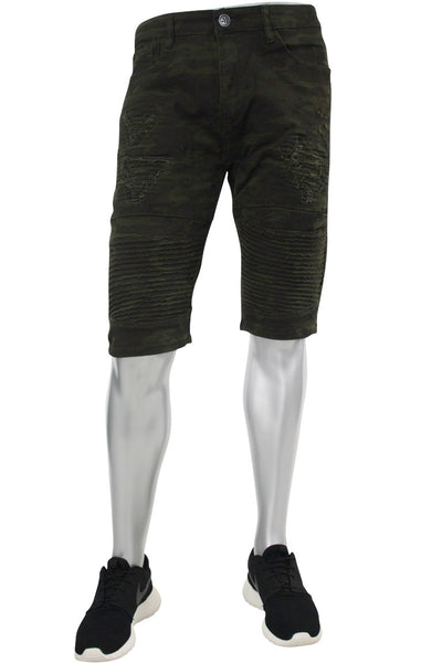 Moto Rip Denim Shorts Camo (M7154T) - Zamage