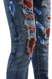 Destroyed Rhinestone Backin Skinny Fit Denim Blue Wash (M5000D) - Zamage