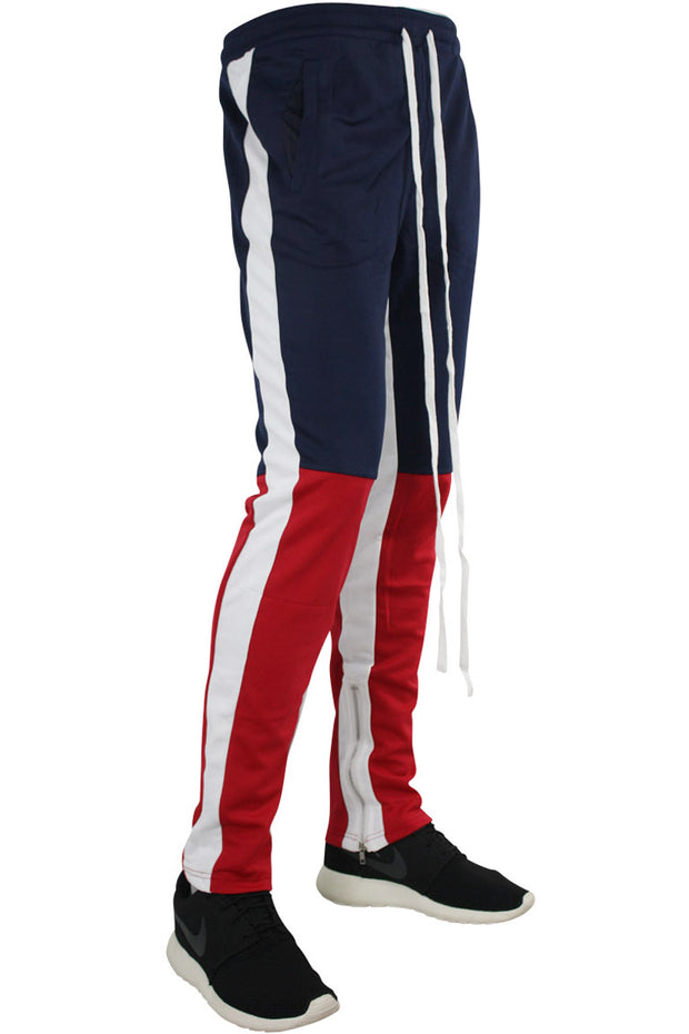 Side Stripe Color Block Track Pants Navy - Red - White (M4515PS)