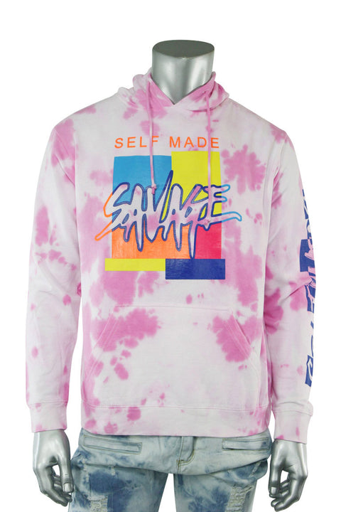 Savage Self Made Tie Dye Hoodie Pink (9157TDH) - Zamage