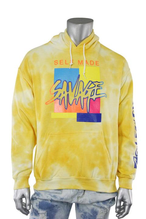 Savage Self Made Tie Dye Hoodie Yellow (9157TDH) - Zamage