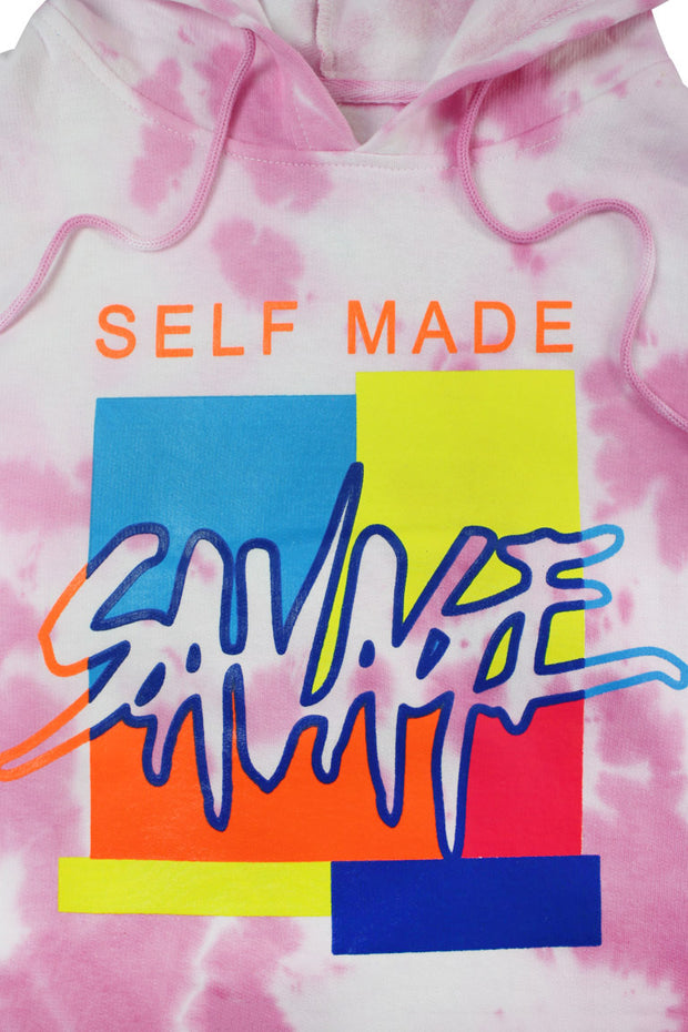 Savage Self Made Tie Dye Hoodie Pink (9157TDH)