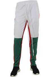 Side Stripe Color Block Track Pants White - Green - Red (M4515PS)